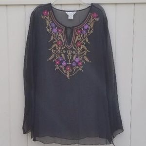 Allison Taylor black silk embroidered top SZ M